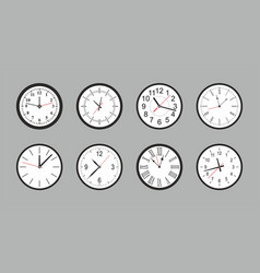 set of white round wall clock vector image