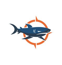 Shark compass logo design isolated template vector