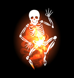 skeleton jumps out of hell fire vector image