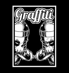 Skull hand holding spay paint graffiti vector