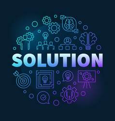 Solution round colored outline vector