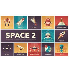 Space - set flat design infographics elements vector