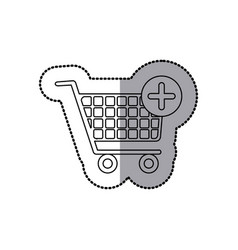 Sticker silhouette with shopping cart and plus vector