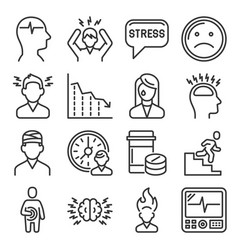 Stress and depression icons set on white vector