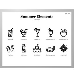 summer holiday elements line pack vector image