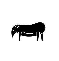 tapir black icon sign on isolated vector image