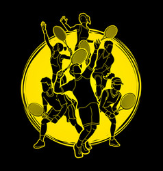 Tennis players men and women action vector