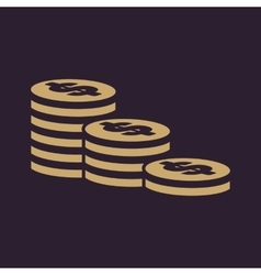 The stack of coins icon Dollar money coin bank vector