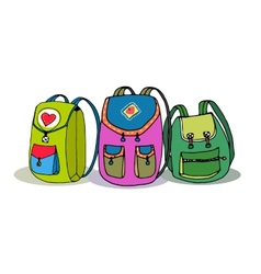 Three Colorful Children Backpacks vector