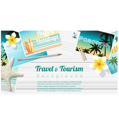 Travel and tourism background with beach postcards vector