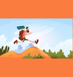 Traveler man hiking in mountains happy smiling vector