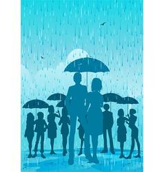 Umbrella in the rain vector image