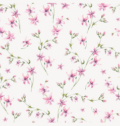 vintage floral seamless pattern with pink vector image