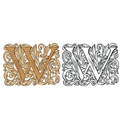 Vintage initial letter w with baroque decoration vector