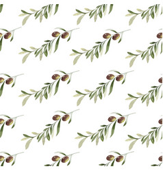 watercolor seamless pattern olive vector image