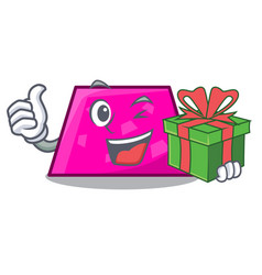 with gift trapezoid mascot cartoon style vector image