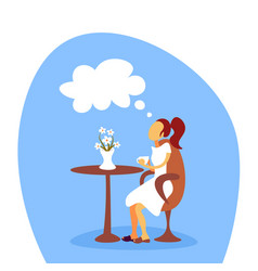 woman drinking coffee dreaming relaxing cafe vector image