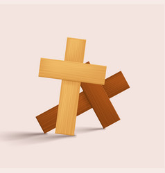 Wooden crosses with shadows on bright vector