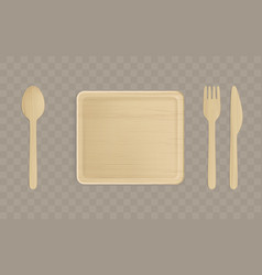 wooden plate fork spoon and knife top view vector image
