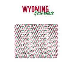 Wyoming real estate properties map text design vector