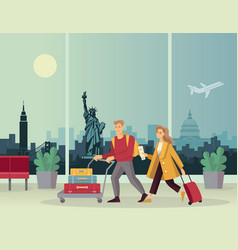young couple with luggage at airport against vector image