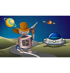 A robot at the road with a spaceship in the vector image vector image