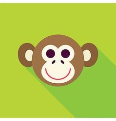 Flat Design Monkey Face Icon vector image