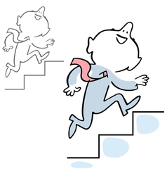 Man climbing stairs vector image vector image