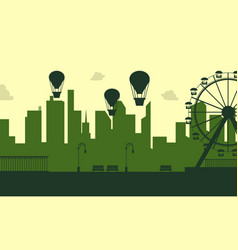 silhouette amusement park scenery collection vector image
