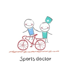 Sports doctor rides a bicycle with a patient vector image vector image
