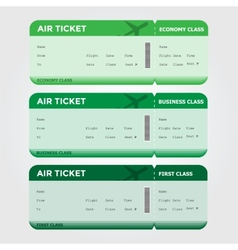 Three Classes Boarding Pass Green Tint vector image vector image