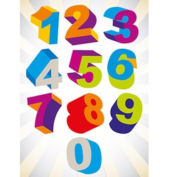 3D colorful bold numbers set vector image