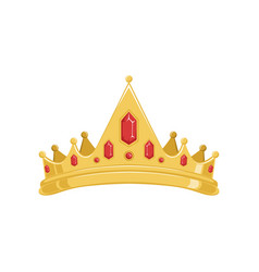 golden ancient tiara or crown with red precious vector image