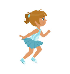 little girl running in a blue dress kid in a vector image