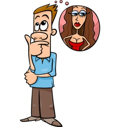 Man think about woman cartoon vector