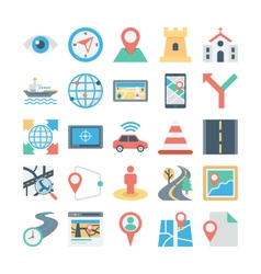 Map and Navigation Colored Icons 4 vector image vector image