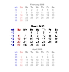 March 2016 Calendar week starts on Sunday vector image