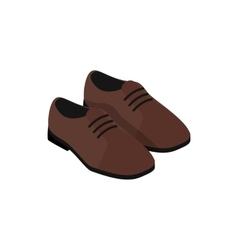 Pair of brown leather shoes icon vector image
