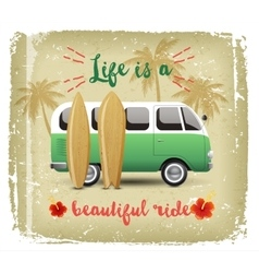 Summer time background with camper van vector image vector image