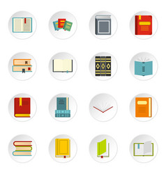 books set flat icons vector image