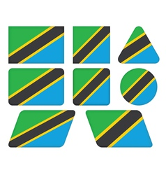 buttons with flag of Tanzania vector image