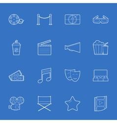 Cinema thin lines icons set vector image