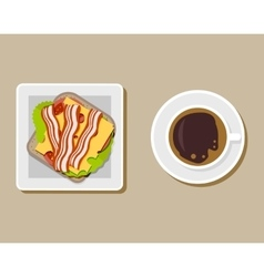 Coffee cup with sandwich top view vector image vector image