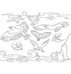 coloring book cartoon for children above the sea vector image vector image