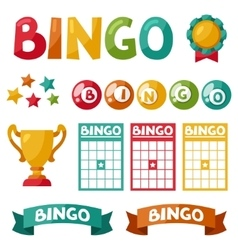Set of bingo or lottery game balls and cards vector image