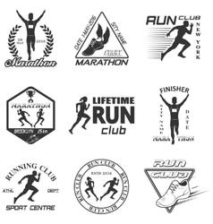 Set of vintage run club labels vector image vector image