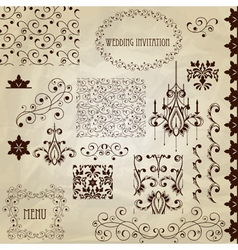 set vintage design elements vector image