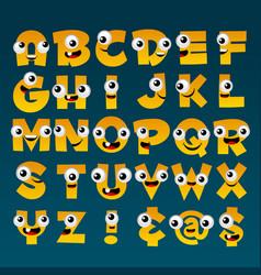 yellow cartoon alphabet vector image vector image