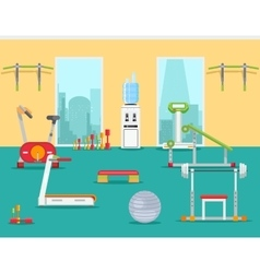 Fitness gym in flat style vector image vector image