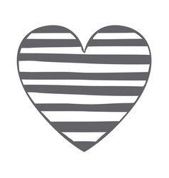 monochrome silhouette heart with horizontal lines vector image